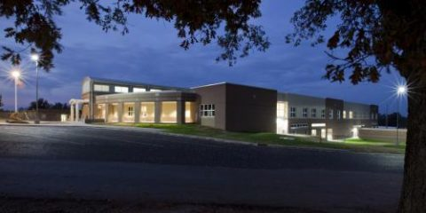 Richardsville Elementary School photo showing the school at night.