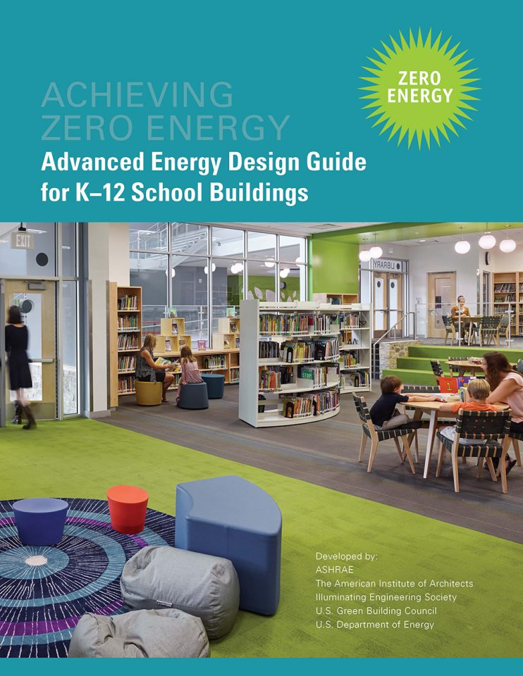 Front cover of the AEDG Guide for Zero Energy Schools showing a library at a zero energy school.