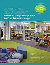 Image of the cover the D12 AEDG showing a zero energy school library