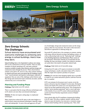 Thumbnail of the Zero Energy Schools: The Challenges Fact Sheet