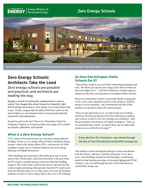 Thumbnail showing the Zero Energy Schools: Architects Take the Lead Fact Sheet