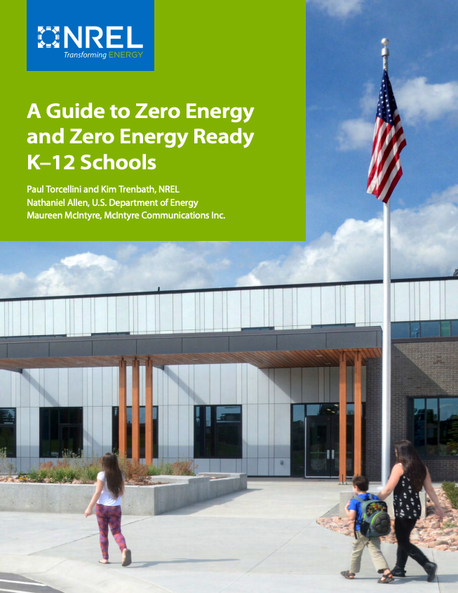 Cover of the document A Road Map for Zero Energy Schools. It shows a parent and two children waling towards a zero energy school.